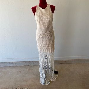 Daisy ivory cream off white lace maxi dress L